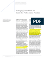 Managing Use of Self for Masterful Professional Practice