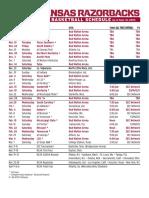 Arkansas MBB Schedule