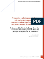 """Protocolos e a Pedagogia do Teatro – da tradução dos protocolos de estudantes sobre Aquele que diz sim aos protocolos do """"trabalho alegre"""""""