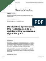 2011 - Irwin, Micett - De Caudillos a Pretorianos. Una Periodización de La Realidad Militar Venezolana Siglos XIX y XX