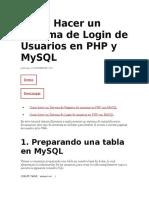 Como Hacer Un Sistema de Login de Usuarios en PHP y MySQL