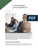 Cuáles Son Las Funciones Principales de Un Ejecutivo de Finanzas