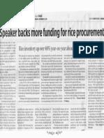 Business World, Sept. 11, 2019, Speaker backs more funding for rice procurement.pdf