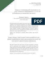 Carmona R, Políticas Públicas y Participación Ciudadana
