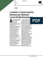 Comune e Conservatorio insieme per lanciare i corsi di alta formazione musicale - Il Corriere Adriatico del 10 settembre 2019