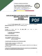 Regulament 2019 Cursuri de  Dirijat Coral