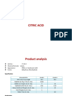 Citric Acid Spec and Application
