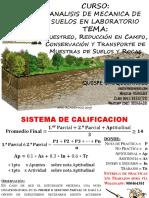 B_Muestreo, Reduccion en Campo, Conservacion y Transporte de Muestras de Suelos y Rocas.pptx