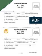 Undertaking, Allotment Letter & Fee Receipt 2017-18597a09d8b4b51