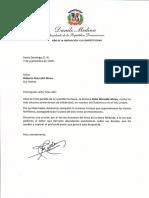 Carta de condolencias del presidente Danilo Medina por fallecimiento de Zoila Marcallé Abreu