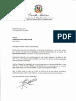 Carta de condolencias del presidente Danilo Medina por fallecimiento de Noé Sterling Vásquez