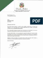 Carta de condolencias del presidente Danilo Medina por fallecimiento de José Alfonso Petit Fondeur