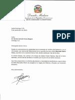 Carta de condolencias del presidente Danilo Medina por fallecimiento de Mercedes María Veras