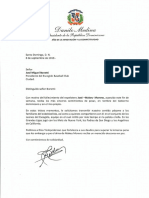 Carta de condolencias del presidente Danilo Medina por fallecimiento de José -Makey- Moreno