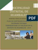 plan de contingencia ante las heladas y friaje, Huambalpa 2019
