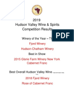 2019 Hudson Valley Wine & Spirits Competition Results