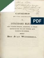 Catálogo de una colección de antigüedades mejicanas en poder de Juan Wetherell
