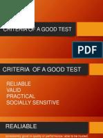 Criteria of a Good Test