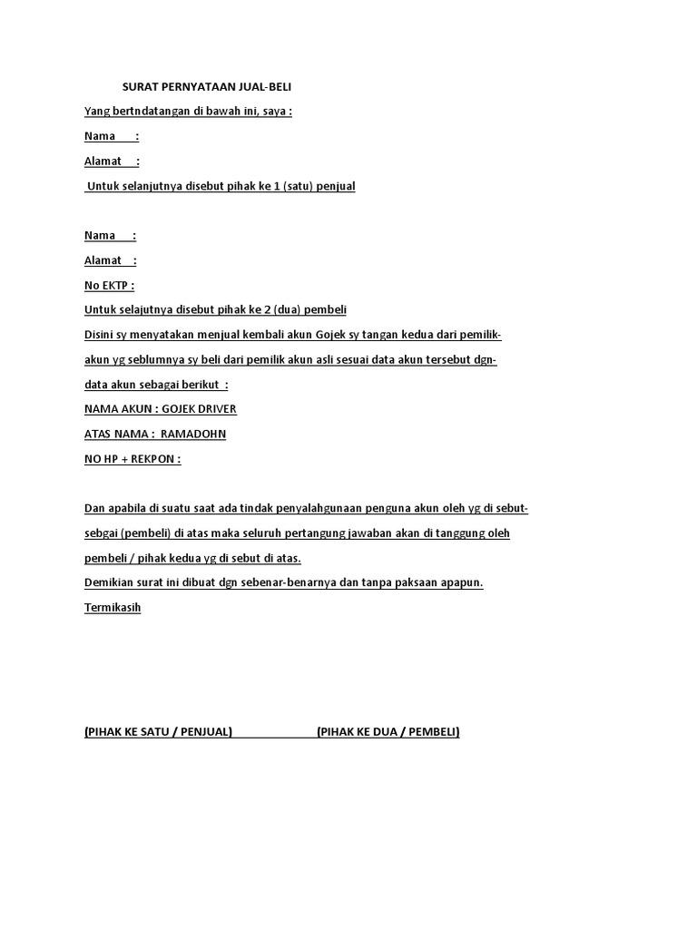 Surat Pernyataan Jual Beli Akun Gojek Docx