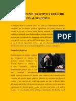 Derecho Penal Objetivo y Derecho Penal Subjetivo