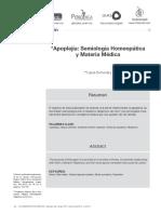 Apoplejia Semiologia Homeopatica y Materia Medica