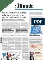 Le Monde Du Vendredi 3 Septembre 2010