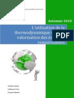 Lutilisation de La Thermodynamique Dans La Valorisation Des c3a9nergies Renouvelables 1 Copie