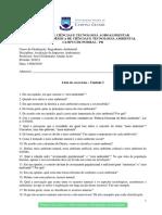 Lista de Exercícios - Avaliação de Impactos Ambientais - Unidade I