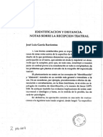 Identificación y Distancia. Notas Sobre La Recepción Teatral Autor - García Barrientos, José Luis