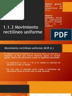 1.1.3 movimiento rectilíneo uniforme