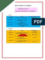Cronograma Ministério Infantil II Semestre