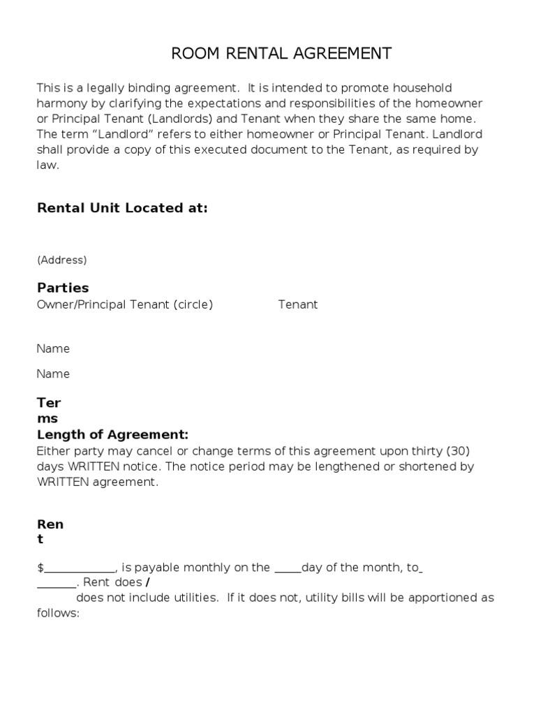 Room Rental Form Leasehold Estate Landlord