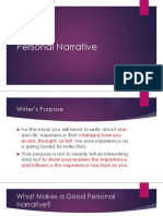 Personal Narrative Paragraph Guide