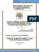 """CALIDAD DEL SERVICIO Y SU INFLUENCIA EN LAS VENTAS DE LOS TRANSPORTISTAS """" CETIPALL"""" Y """"UNIFICADOS"""" DE CASA GRANDE DEL TERMINAL TERRESTRE SANTA CRUZ TRUJILLO, 2014"""