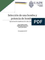Selección de Una Bomba y Potencia de Bombeo