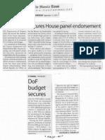 Manila Times, Sept. 12, 2019, DoF budget secure House panel endorsement.pdf