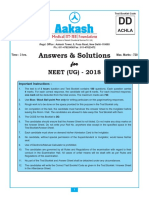 NEET 2018 Aakash Solution Code DD