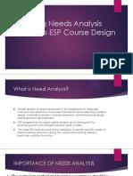 Relating Needs Analysis Result to ESP Course Design