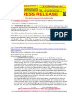 20190912-PRESS RELEASE Mr G. H. Schorel-Hlavka O.W.B. ISSUE - Re Suppl-70-Random Testing