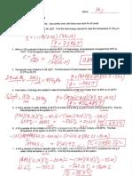 Calorimetry Problems Key