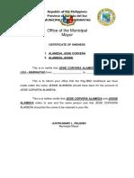 Certificate of Oneness Alameda