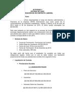 ACTIVIDAD 3 ESTUDIO DE CASO LIQUIDACIÓN DE CONTRATO LABORAL