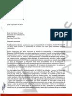 Carta de la Nmead a Wanda Vázquez