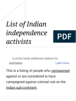 List of Indian Independence Activists - Wikipedia