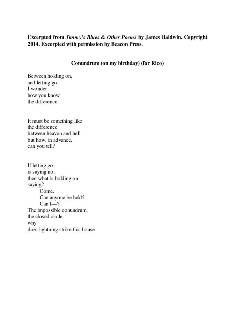 Conundrum Baldwin Poem Excerpt Lambda Literary