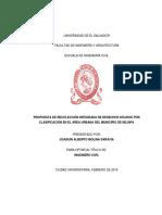 PROPUESTA DE RECOLECCIÓN INTEGRADA DE DESECHOS SÓLIDOS POR CLASIFICACIÓN EN EL ÁREA URBANA DEL MUNICIPIO DE NEJAPA