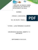 TAREA 1 - REALIZAR UN ENSAYO SOBRE GENERALIDADES DE LAS FUENTES DE ABASTECIMIENTO DE AGUA