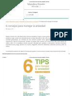 6 Consejos Para Manejar La Ansiedad _ Infografías y Remedios