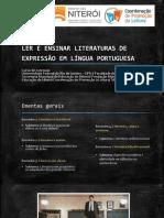 Ler e Ensinar Literaturas de Expressão Em Língua Portuguesa