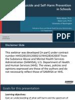 2018 SAMSHA Suicide and Self Harm Prevention Webinar